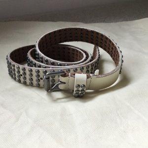 J Crew leather studded belt antique white MEDIUM